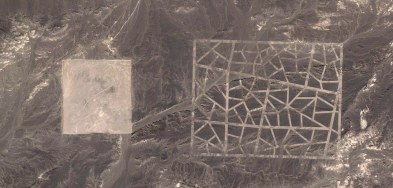 Grandes estructuras en el suelo del desierto de Gobi, en China.